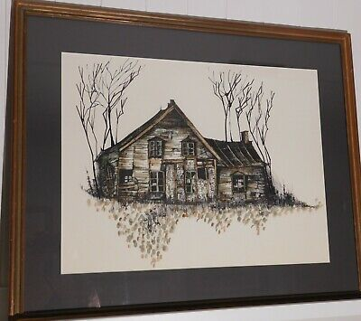 Large Vintage Painting Print Serigraph of Dilapidated Old House Signed ABBO 1971
