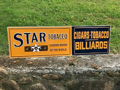 """""""STAR TOBACCO"""" LARGE EMBOSSED METAL SIGN, 40""""x 12"""", NEAR MINT (NOS), NICE"""