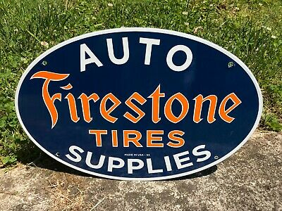 """""""FIRESTONE TIRES"""" PORCELAIN ADVERTISING SIGN (16""""x 11""""), NEAR MINT CONDITION"""