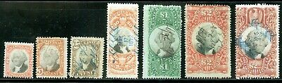 7 Different 3rd Issue Revenue Stamps - R135 R137 R139 R140 R144 R145 & R146 Nice