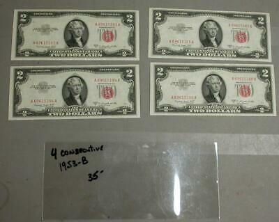 (4) Consecutive Numbered 1953-B $2  Red Seal Notes  -M534