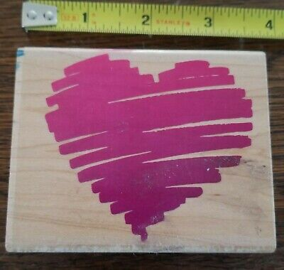 """Rubber Stampede Wood-Mounted HEART Stamp 3.5x3"""" Barely Used 1992"""