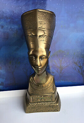 "Nefertiti ancient Egyptian Queen bust Brass Vintage 15"" Tall  5 Lbs"