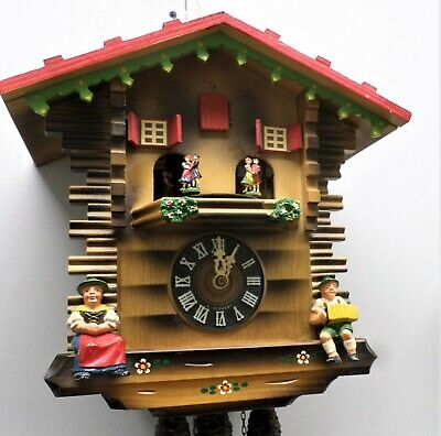 Nice Old German Working Black Forest Music Dancers Mountain Chalet Cuckoo Clock!