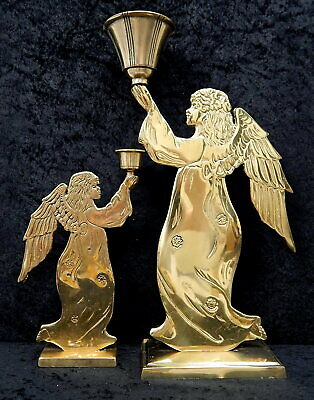Vintage Carnevale large solid brass herald angel candle holders Christmas