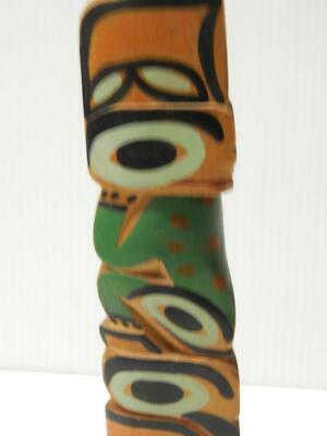 VINTAGE ALASKA CANADA NW COAST INDIAN HAND CARVED TOTEM POLE nice color