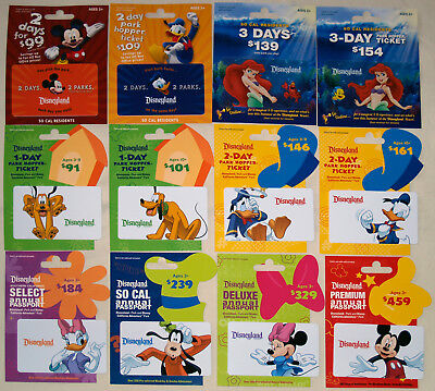 12 Different DISNEYLAND Passport Disney Gift Cards 2011: Ariel, Mickey, Minnie +