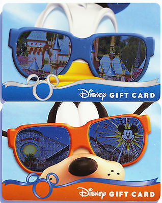 2 Disneyland Gift Cards 2013 Donald Duck & Goofy w/Parks Reflected in Sunglasses