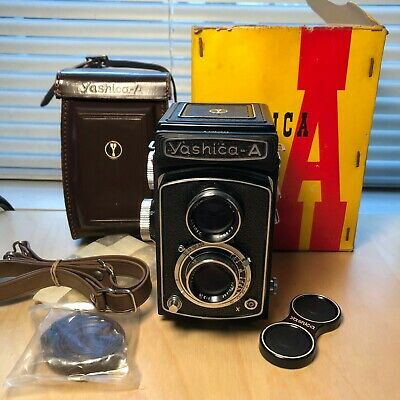 Mint Yashica A TLR Camera w/leather case and box