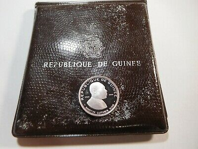 N2 Africa Guinea 1970 Silver 100 Francs Martin Luther King Proof w/ Orig. Wallet