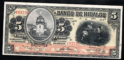 MEXICO EL BANCO DE HIDALGO, PACHUCA,  5 PESOS 1914 ps305d CIRCULATION NOTE, RARE