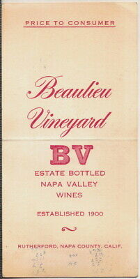c1950s Beaulieu Vineyards Rutherford, Napa County, Calif. Price to Consumer list