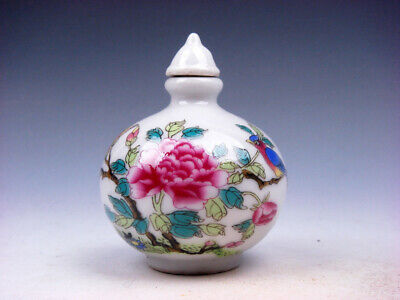 Famille-Rose Glazed Porcelain Snuff Bottle Lovely Bird Flower Blossoms #03312006