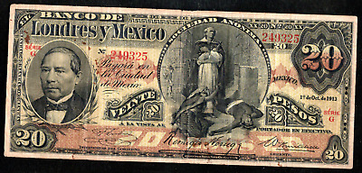 MEXICO EL BANCO DE LONDRES Y MEXICO 20 TWENTY PESOS 1913 ps235d