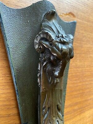 Antique Vintage Wall Mount Art Deco Cast Metal Candle Holder with Ram's Head