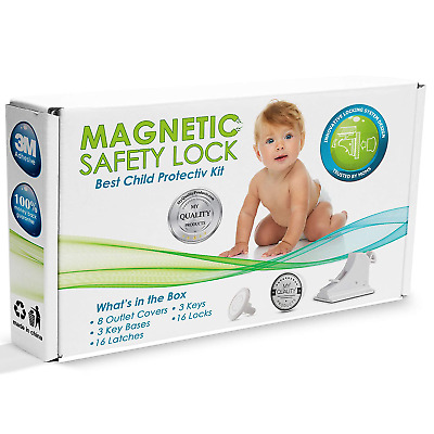 Invisible Cabinet Locks Child Safety Kit Adhesive Cupboards 16Baby Proofing Set