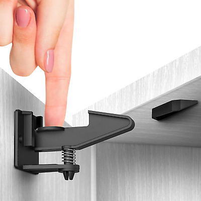 Cabinet Locks Child Safety Latches Adhesive Child Proof Socket Covers 10Pk Black