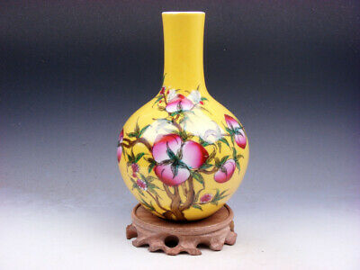 """8"""" Yellow Glazed Porcelain Peach Tree Hand Painted Vase w/ Free Stand #03181905"""