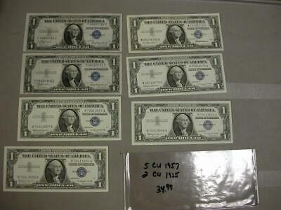Silver Certificate Notes In Crisp Uncirculated   (7 Notes) 1935 - 1957  -M554