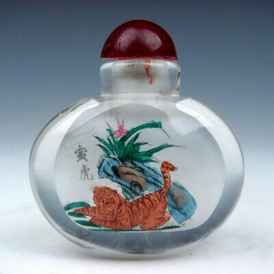 Peking Glass Inside *Zodiac Tiger* Reverse Hand Painted Snuff Bottle #01062002