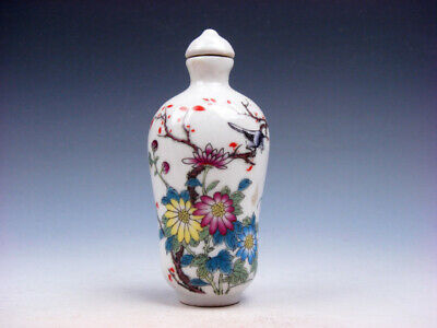 Famille-Rose Glazed Porcelain Snuff Bottle Bird On Tree & Flowers #01062003