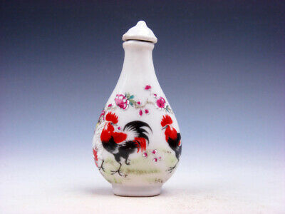 Famille-Rose Glazed Porcelain Snuff Bottle Big Tail Roosters & Flowers #01062001