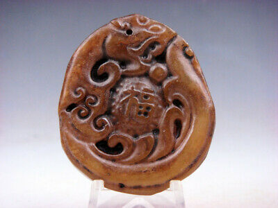 Old Nephrite Jade Hand Carved *Tiger Blessing FU Character* Pendant #04301802