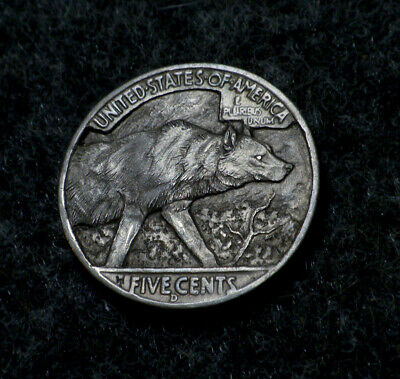 """Original Hobo Nickel  """"Hungry Like The Wolf"""" Coin by Howard Thomas"""