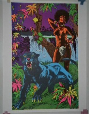 vintage Black light THE ADVENTURERS Lady Panther Cat Skull Poster