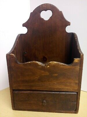Antique Primitive Wood Wall Folk Art Candle/Pantry Box with Drawer
