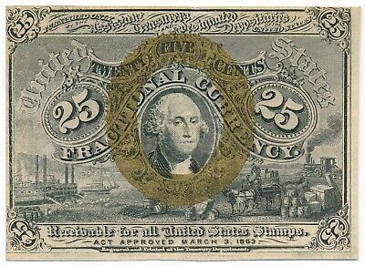 FR1285 1863 Fractional Currency 25c Five Cents Second Issue USA Bill