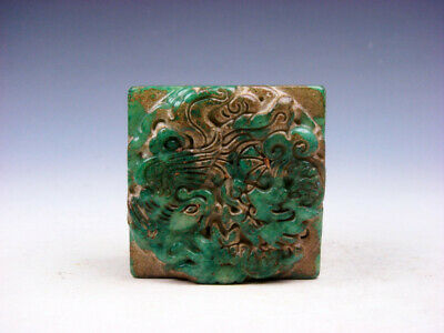 Old Nephrite Jade Stone Carved Seal Paperweight Dragon & Phoenix #04082005