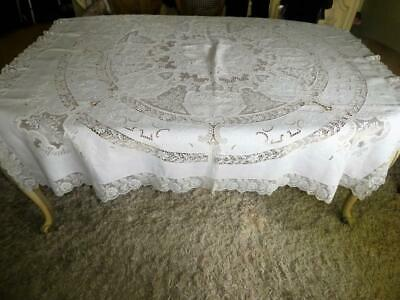 Antique Vintage Italian Mixed Lace Hand Embroidery Linen Tablecloth Amazing !