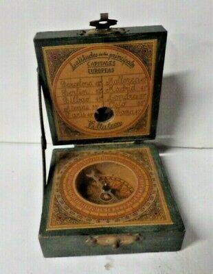 Rare Vintage Antique Wood Case Compass Latitudes Of Capitals Of Europe Pillalcor