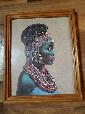 W M OTTO 1980 AFRICAN WOMAN PRINT Free Ship
