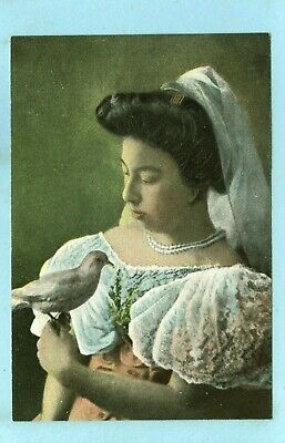 4th of 4 Vintage, Japanese Geisha Girls, Pretty Young Girl Holding a Dove...