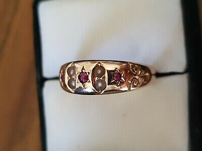 Antique Victorian 15Ct Gold Seed Pearl And Garnet Ring.