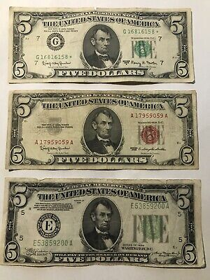 Lot Of 3 Vintage $5 Bills 1934 1963 Star Note Seal Us Currency Money Gwop Cheese