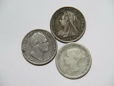 Great Britain 1834 1883 1895 6 Pence Low Grade Silver World Coin Lot 🌈⭐🌈