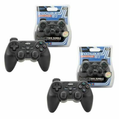 2x KMD Wireless 2.4GHZ Shock-wave Controller For Sony PlayStation 2 PS2 Black
