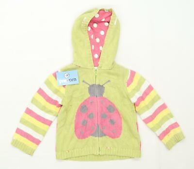 Next Girls Graphic Green Ladybug Hoodie Age 3-4