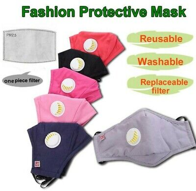 *UK STOCK* 1 Filter + 1 Breathable Washable Face Mask Valve Cotton GREY