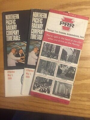 3 Railroad Timetables One PRR (1966) and Two Northern Pacific (1969)
