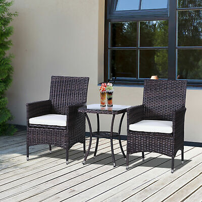 Outsunny 3PC Rattan Furniture Bistro Set Garden Chair Table Patio Outdoor Wicker