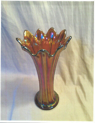 """Vintage Northwoods Carnival Glass """"Thin Rib"""" 10"""" Vase-Amber Red- Not marked"""
