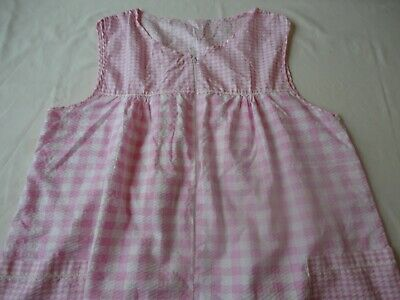 Duster House Dress Float Zip Front Sleeveless Pink Check Seersucker Size Large