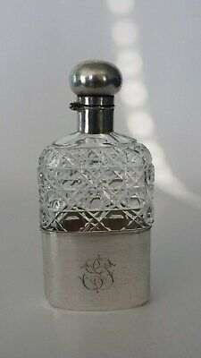 Gorgeous German 800 silver & Russian cut glass hip flask 1900.