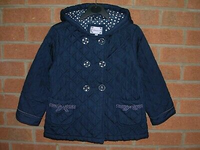 JASPER CONRAN Girls Navy Blue Coat Quilted Jacket Age 5-6 116cm