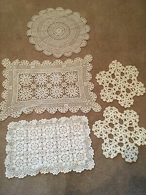 Mixed Lot  Of 5 Assorted Vintage  Crochet Doilies