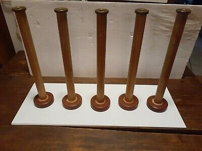 5 Wood Textile Mill Thread Spindles Spools